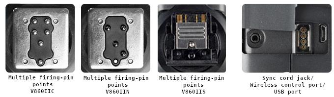 Мультипиновая ножка вспышек V860IIC, V860IIN, V860IIS. Гнездо для синхрокабеля, разъем для беспроводного управления, порт USB