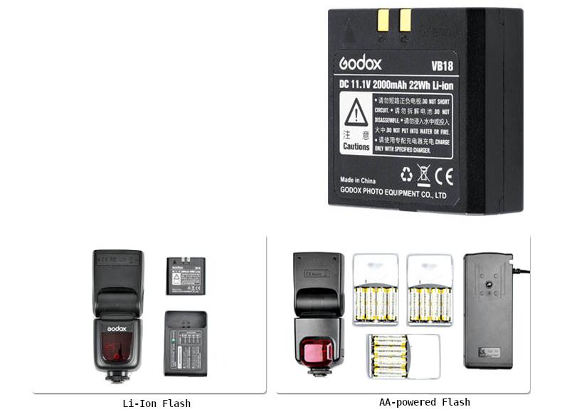 Вспышка с литий-ионным аккумулятором и вспышка с питанием от батареек АА
